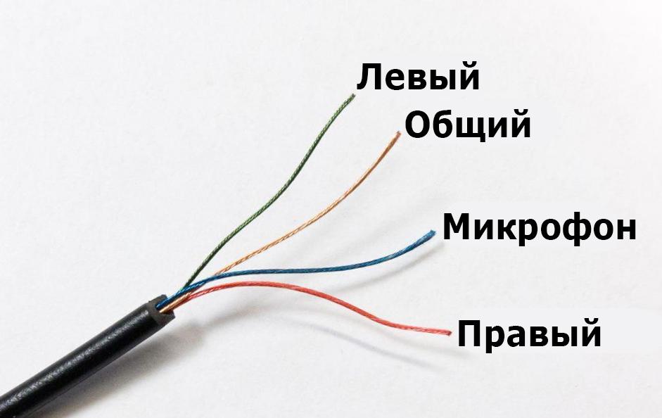 4 провода с микрофоном