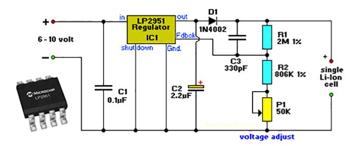 Зарядник на LP2951 (для литиевых аккумуляторов)