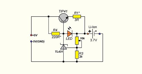 Зарядка для li-ion на транзисторе и TL431