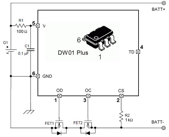 Схема модуля защиты литиевого аккумулятора на DW01