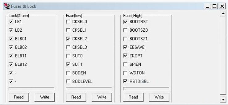 Биты конфигурации (фьюзы) при прошивке Uniprof-ом