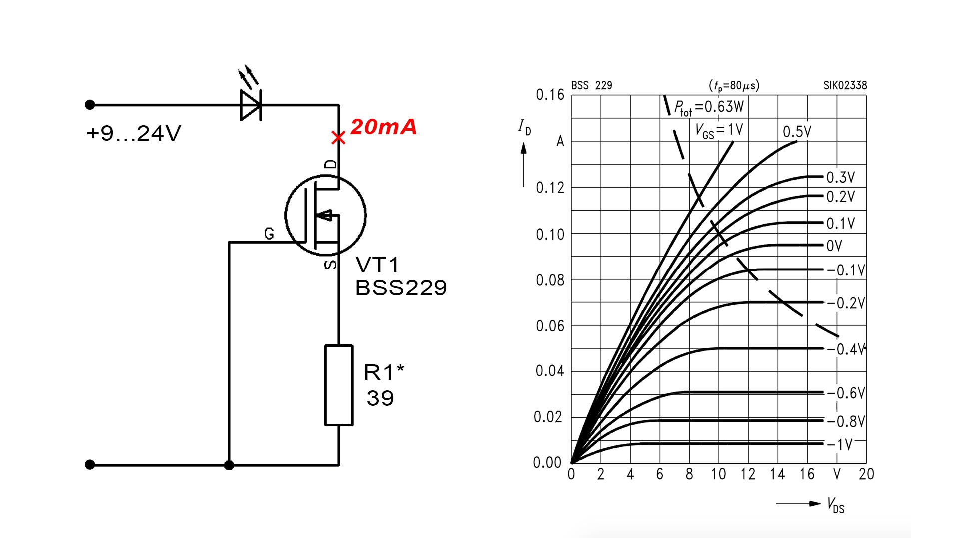 Генератор (стабилизатор) тока на MOSFET