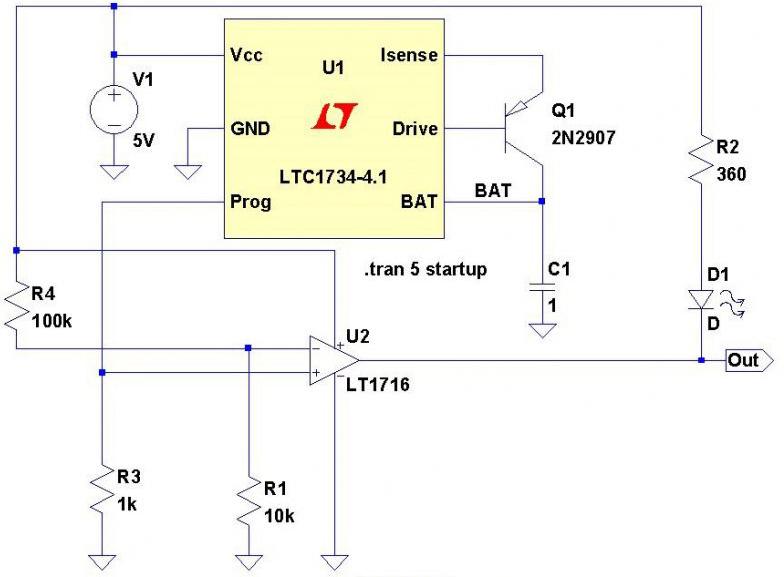 Схема зарядки с индикатором окончания заряда LTC1734