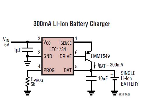 Схема ЗУ для литиевых аккумуляторов на ИМС LTC1734