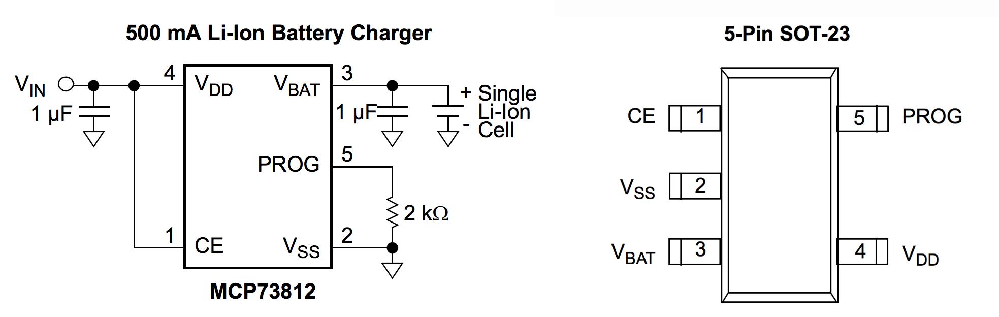 Простейшая схема зарядки для лития 3.7 В на MCP73812