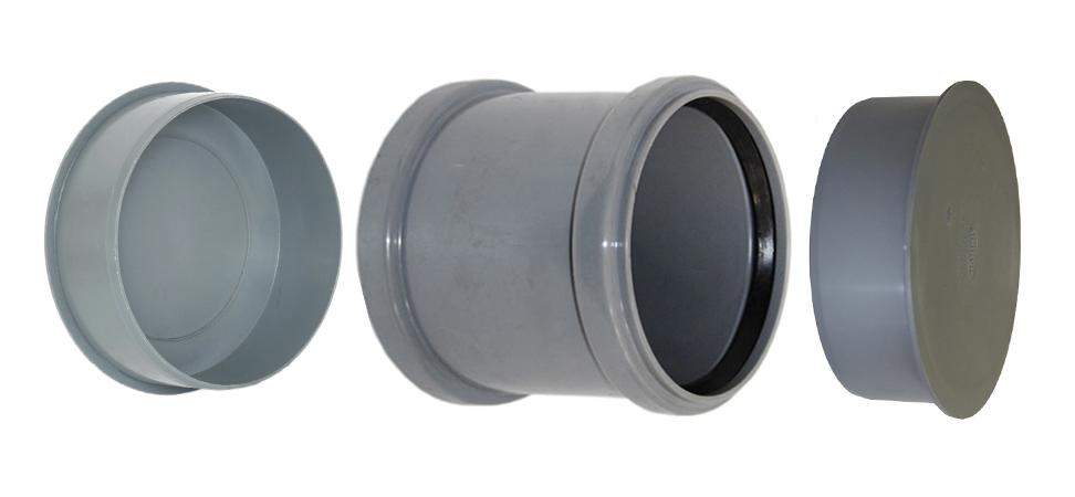 Ремонтная полипропиленовая муфта 110 мм с заглушками