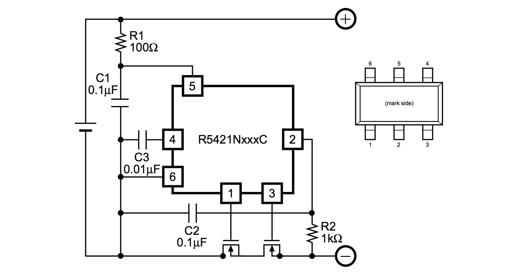 Схема защиты литиевого аккумулятора на микросхемах серии R5421N