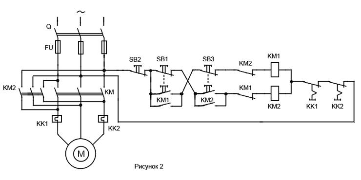 Схема управления реверсивными двигателями