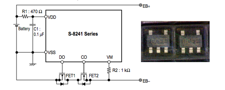 SEIKO S-8241 Series (защита Li-ion)