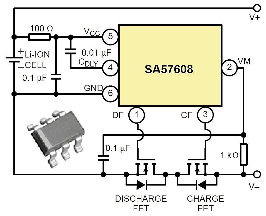 Плата защиты лития на ИМС SA57608