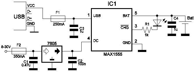 Схема зарядника для литий-полимерных аккумуляторов на микросхеме мах1555