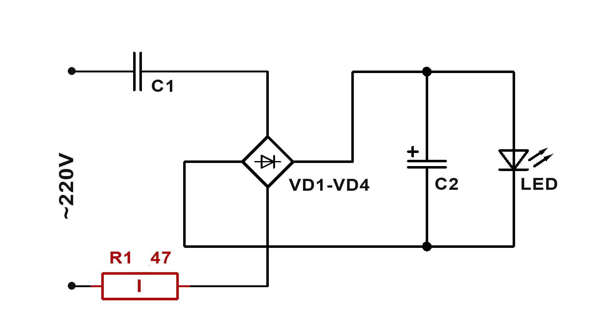 Схема с защитой светодиода от разрушения скачком напряжения